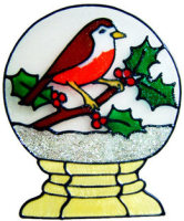 845 - Robin in Snow Globe handmade peelable window cling decoration
