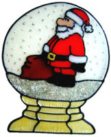 844 - Santa in Snow Globe handmade peelable window cling decoration