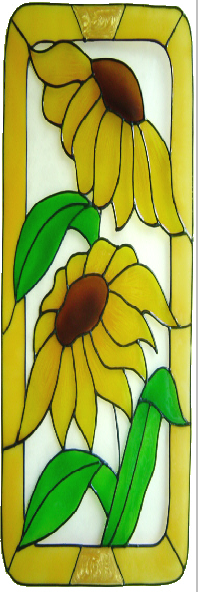 1113Large - Two Sunflowers in Frame handmade peelable window cling decorati
