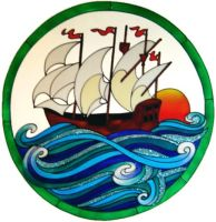 740EX - Extra Large Sailing Ship Frame - Handmade peelable window cling decoration