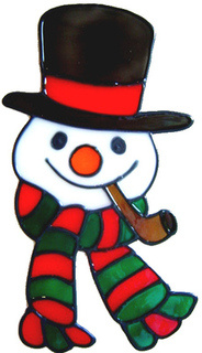 63 - Snowman Head - Christmas Handmade peelable static window cling decorat