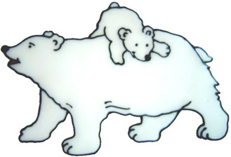 472 - Polar Bear with Cub - Handmade peelable static window cling decoratio