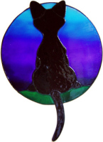 595 - Daydreaming Cat - Midnight - Handmade peelable static window cling decoration