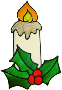 730 - Christmas Candle - Handmade peelable static window cling decoration