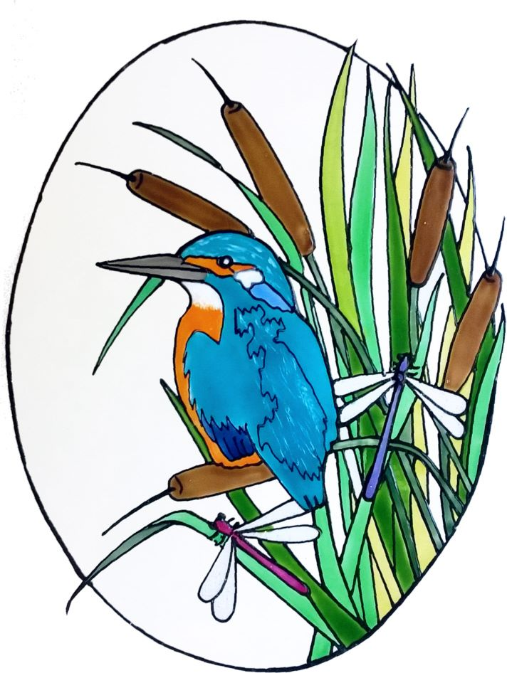 1234 - Kingfisher Oval - Handmade peelable static window cling decoration