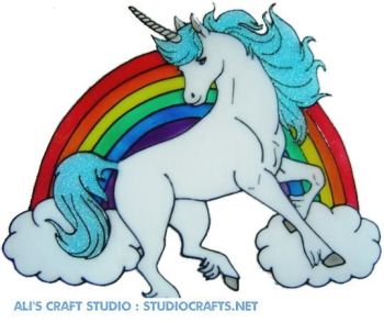 1209 - Rainbow Unicorn - Handmade peelable static window cling decoration