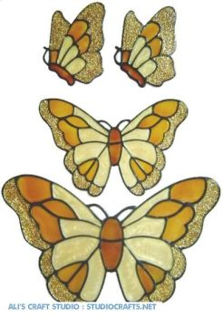 424 - Butterfly Set handmade peelable window cling decoration