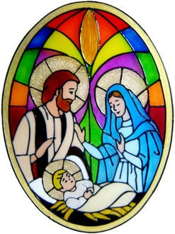 857 - Nativity Panel handmade peelable window cling decoration