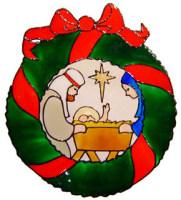 856 - Nativity Wreath handmade peelable window cling decoration