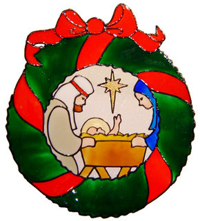 856 - Nativity Wreath handmade peelable window cling decoration