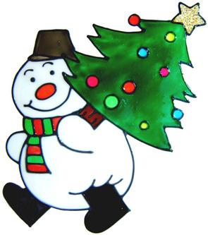 520 - Snowman with Tree - Handmade peelable static window cling decoration