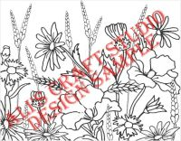715R - Rectangular Wildflowers - Handmade peelable static window cling decoration