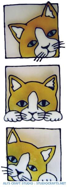 1192 - Three Cats Handmade peelable static window cling decoration