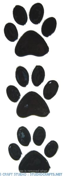 1005- Set of three pawprints handmade peelable window cling decoration