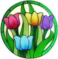 926 - Special Size for Vicki Sales - Colourful Tulips handmade peelable window cling decoration