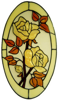861 - Double Rose Oval 2 handmade peelable window cling decoration