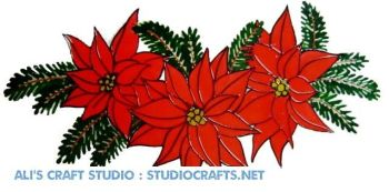1218  - Christmas Poinsetta  Swag handmade window cling decoration