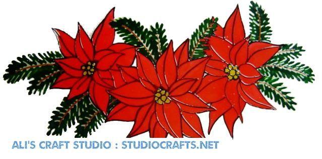 1218  - Christmas Poinsetta  Swag handmade window cling decoration