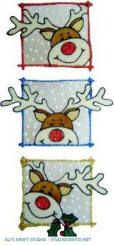 1144 - Set of 3 Peeping Reindeer handmade peelable window cling decorations