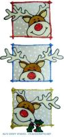 1144 - Set of 3 Peeping Reindeer handmade peelable window cling decorations