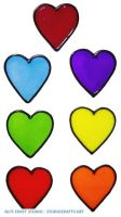 981 - Set of Rainbow Hearts Handpainted Window Cling - Handmade peelable static window cling decoration