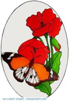 1041 - Butterfly & Flowers Frame handmade peelable window cling decoration