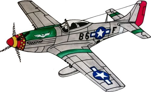 837 - North American Mustang WWII  handmade peelable window cling decoratio
