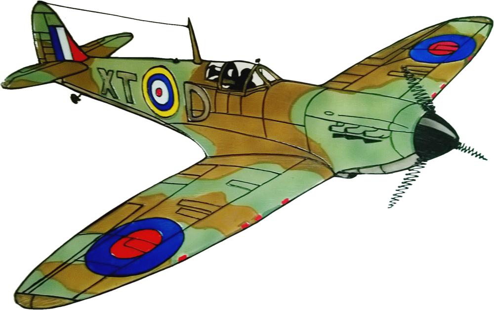 704 - Supermarine Spitfire WWII Plane - Handmade peelable static window cli