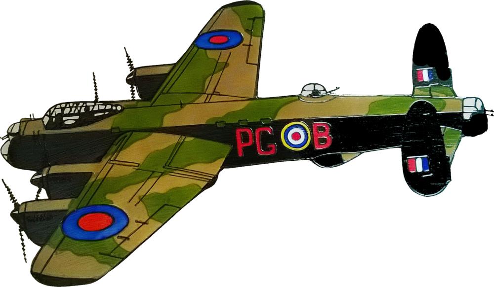 705 - Avro Lancaster WWII Plane - Handmade peelable static window cling dec