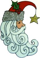 969 - Santa Moon - Handmade peelable static window cling decoration