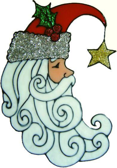 969 - Santa Moon - Handmade peelable static window cling decoration