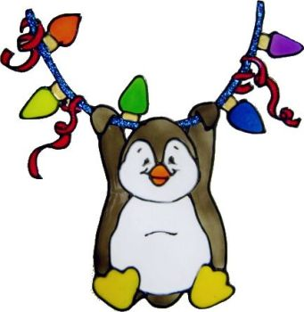 1139 - Penguin with Christmas Lights - Handmade peelable static window cling Christmas decoration