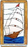 1265 - Tall Ship Frame - Handmade peelable window cling decoration