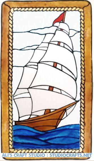 1265 - Tall Ship Frame - Handmade peelable window cling decoration