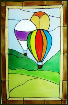 1184 - Hot Air Balloons Frame - Handmade peelable static window cling decoration
