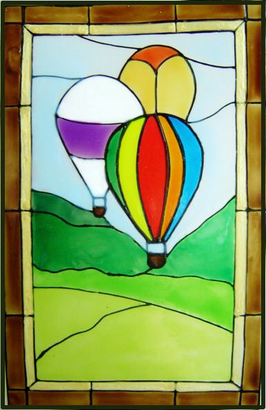 1184 - Hot Air Balloons Frame - Handmade peelable static window cling decor