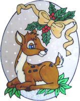 1147 - Christmas Deer handmade peelable window cling decoration