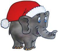 1147 - Christmas Elephant handmade peelable window cling decoration