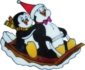 1016 - Penguins on Sleigh - Handmade peelable static window cling Christmas decoration