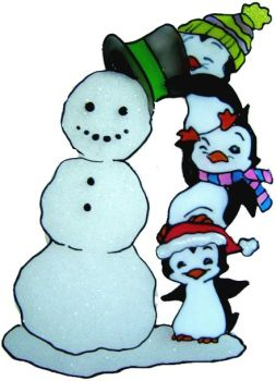 1142 - Penguin Tower & Snowman - Handmade peelable static window cling Christmas decoration