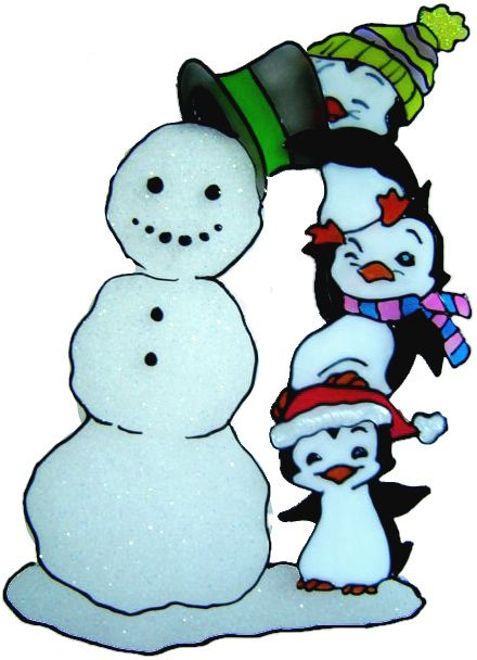 1142 - Penguin Tower & Snowman - Handmade peelable static window cling Chri