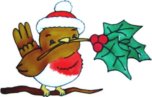 1152 - Christmas Robin handmade peelable window cling decoration