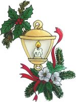 1246 - Christmas Lantern  handmade peelable window cling decoration