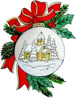 1221 - Christmas Village Bauble  handmade peelable window cling decoration