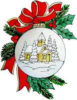 1221 - Christmas Village Bauble  handmade peelable window cling decoration