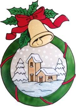 1245 - Christmas Village Wreath  handmade peelable window cling decoration