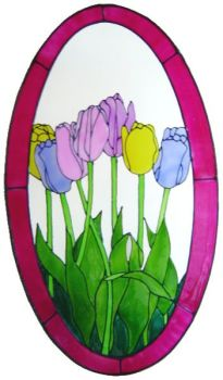 1090 - Large Tulips Oval handmade peelable window cling decoration