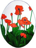 1229 - Large Poppy Oval - Handmade peelable static window cling decoration
