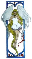 1188 - Angel in frame handmade peelable window cling decoration