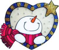 1141- Snowman Heart - Handmade peelable static window cling decoration